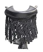 Black Fringe Leather Pockets Set of 6