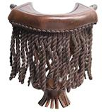 Dark Brown Fringe Leather Pockets Set of 6